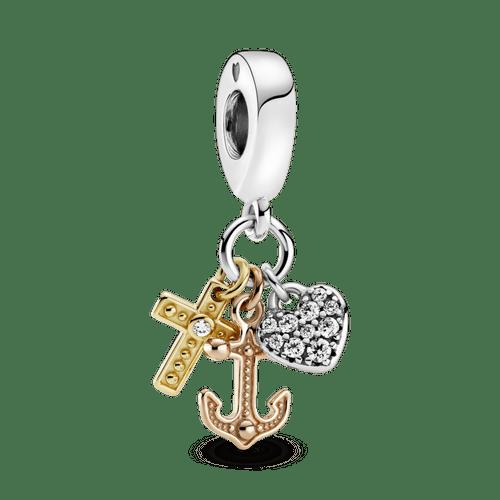 Charm Colgante De Tres Tonos Cruz, Corazón Y Ancla.