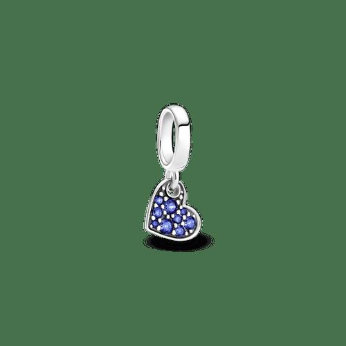Charm Colgante Corazón Inclinado En Pavé Azul Estelar.