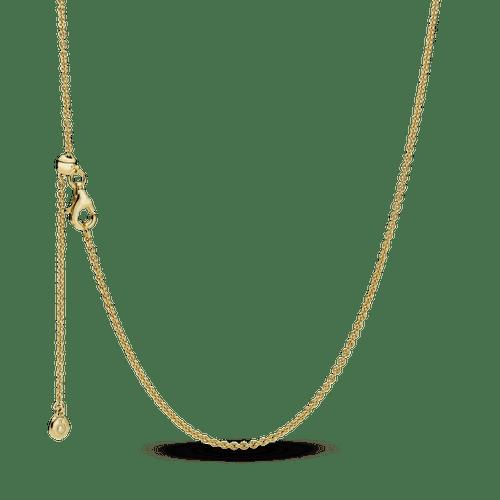 Collar Cadena De Cable Clásico Sencillo Recubrimiento en Oro de 14k